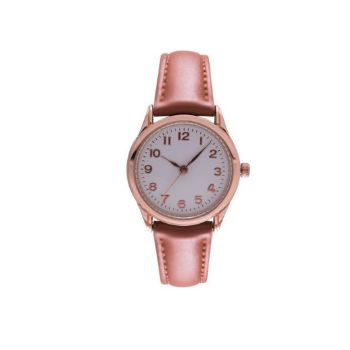 Classic Leatherette Ladies Watch - Tan+Rosegold